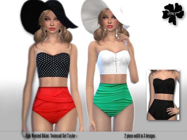 Sims 4 IMF Hight Waisted Swimsuit Taylor by IzzieMcFire at TSR