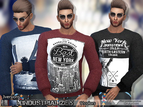 Sims 4 PZC Industrialize 5 Sweatshirt Set by Pinkzombiecupcakes at TSR