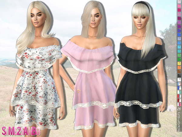 Bare Shoulder Layered Dress by sims2fanbg at TSR image 4825 Sims 4 Updates