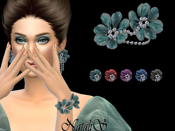Sims 4 Organza flower bracelet by NataliS at TSR