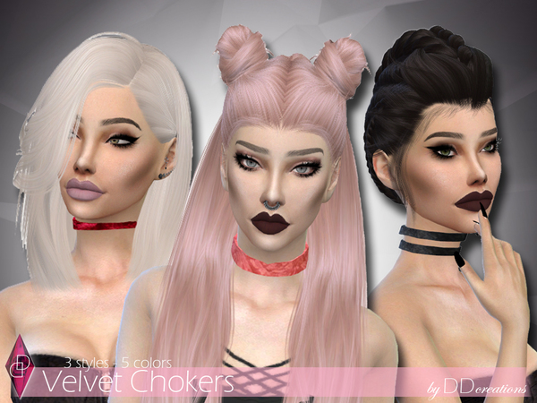 Velvet Chokers by ddcreations at TSR image 5016 Sims 4 Updates