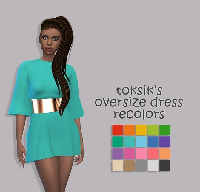 Sims 4 Toksik's oversize dress recolors at Maimouth Sims4