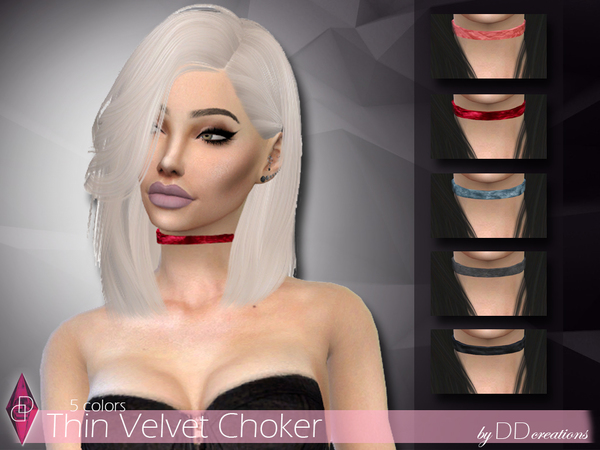 Velvet Chokers by ddcreations at TSR image 5218 Sims 4 Updates