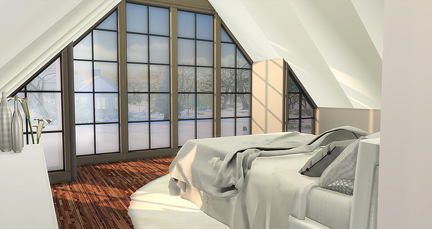 Sims 4 Modern Attic Bedroom at Caeley Sims