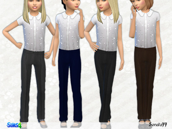 Sims 4 Classic pants for girls by Sonata77 at TSR