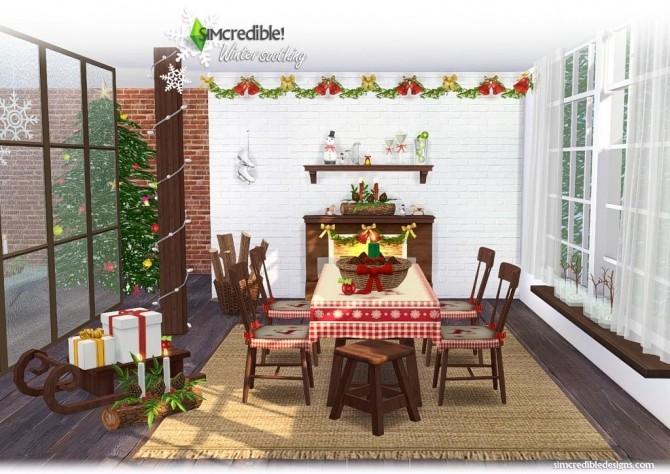 Sims 4 Winter Soothing dining at SIMcredible! Designs 4