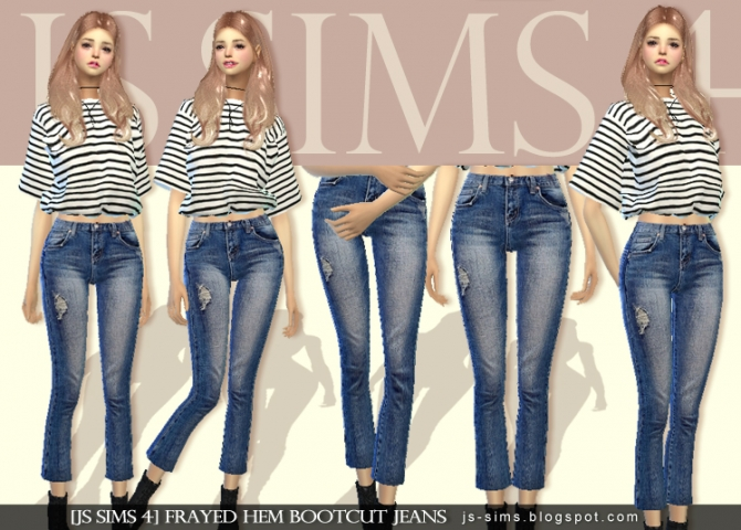 Connu Frayed Hem Bootcut Jeans at JS Sims 4 » Sims 4 Updates PQ55