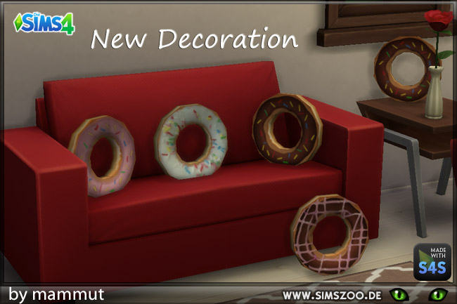 Sims 4 Donut pillows by mammut at Blacky's Sims Zoo