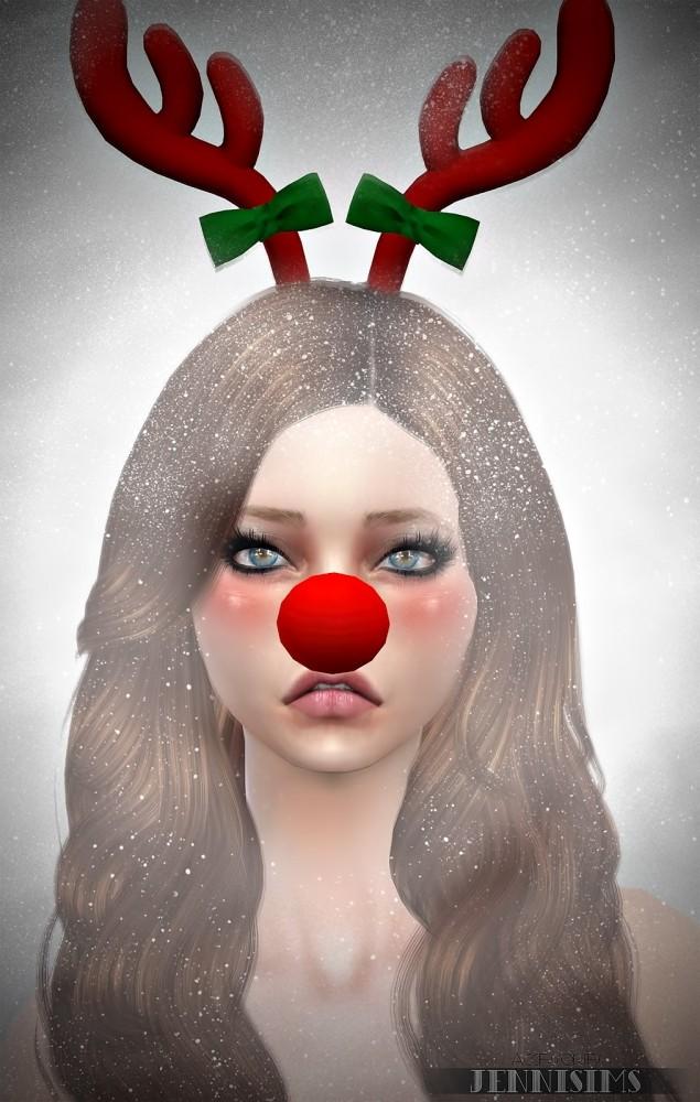 Snowflake set (Nose Rudolph, Backpack, Headband Reno, Tree) at Jenni Sims image 6910 635x1000 Sims 4 Updates