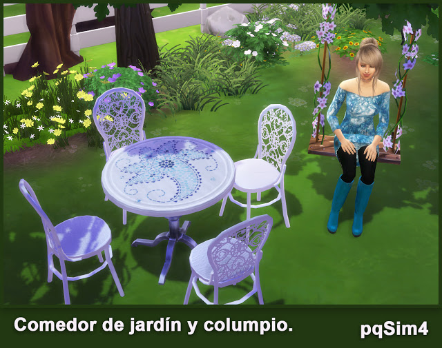 Garden diningroom and swing chair set at pqSims4 image 703 Sims 4 Updates