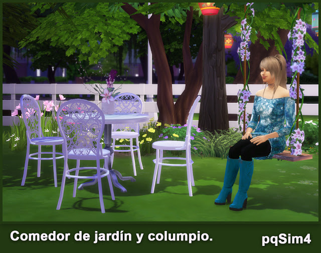 Garden diningroom and swing chair set at pqSims4 image 715 Sims 4 Updates