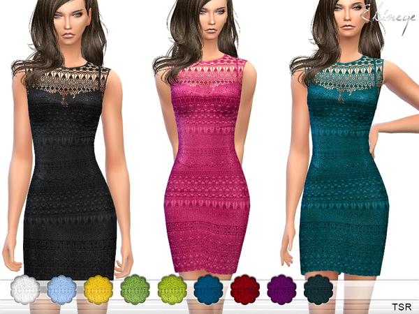 Sims 4 Crochet Lace Dress by ekinege at TSR
