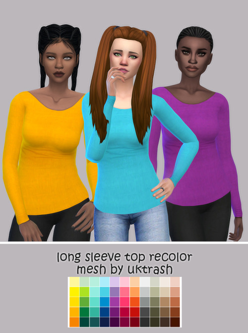 Sims 4 Long Sleeve Top Recolor at Maimouth Sims4