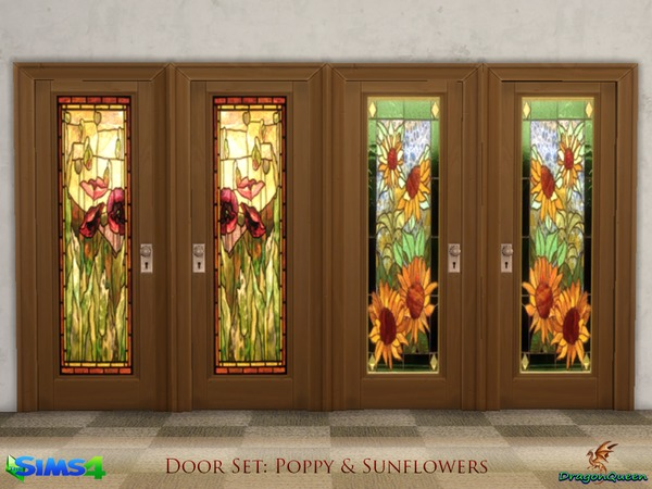 Sims 4 Door Set Poppy & Sunflowers by DragonQueen at TSR