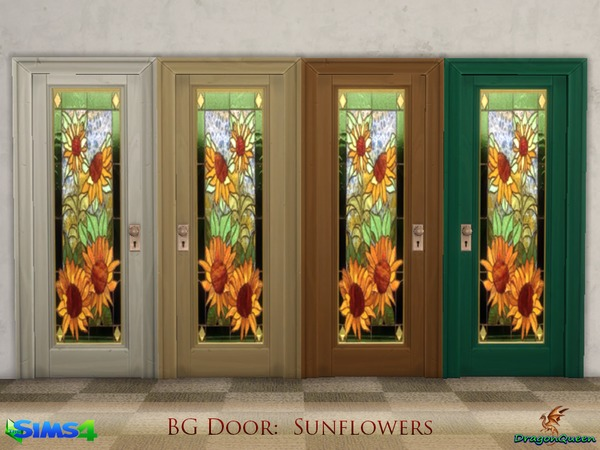 Door Set Poppy & Sunflowers by DragonQueen at TSR image 7515 Sims 4 Updates