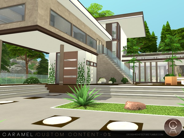 Sims 4 Caramel house by Pralinesims at TSR