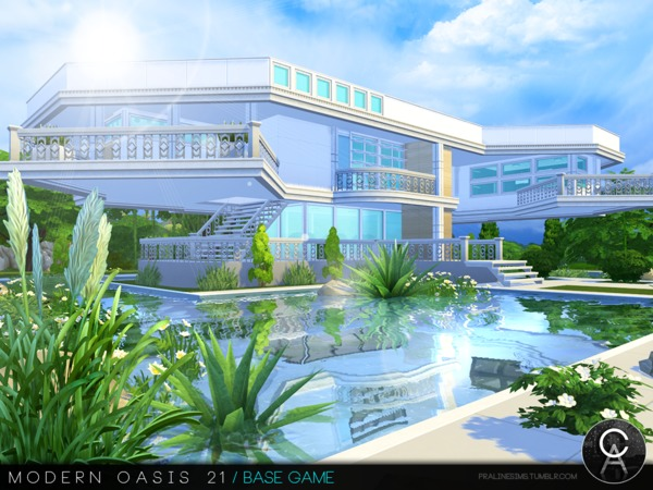 Sims 4 Modern Oasis 21 house by Pralinesims at TSR