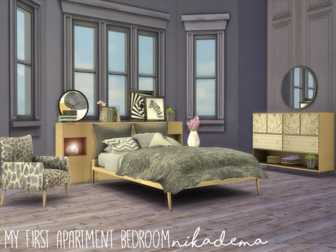 My first apartment bedroom at nikadema designs sims 4 for Furniture for first apartment