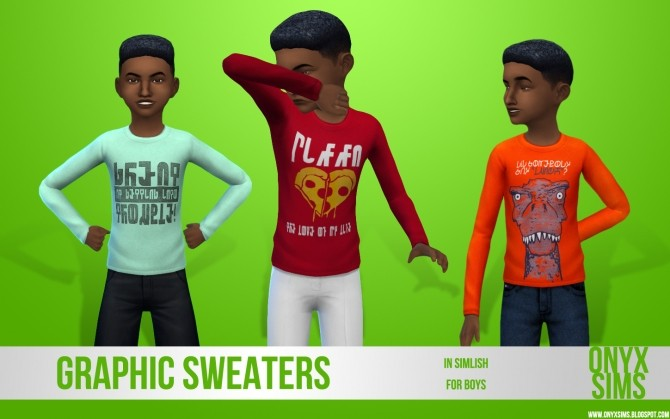 Sims 4 Simlish Graphic Sweaters for Boys at Onyx Sims