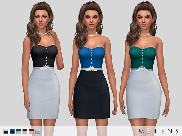Sims 4 Rosaleigh Dress by Metens at TSR