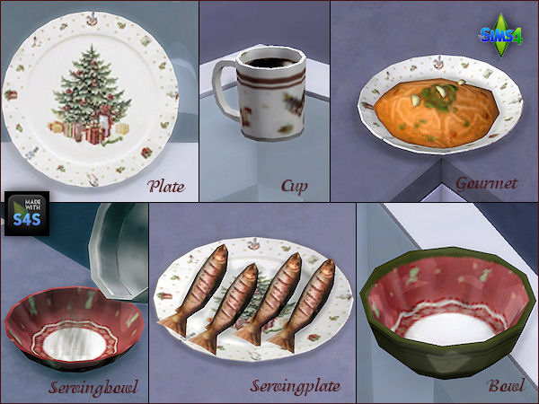 Christmas dinnerware as default replacements by Mabra at Arte Della Vita image 8810 Sims 4 Updates