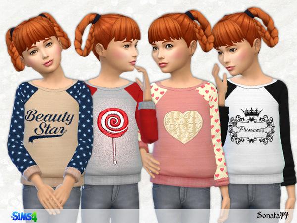 Sims 4 Pretty sweatshirt for girls by Sonata77 at TSR
