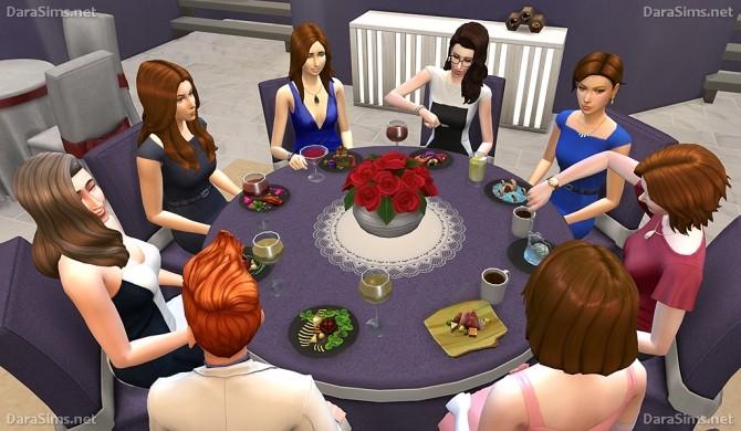 Sims 4 Big Round Festive Dining Tables (6 8 seats) at Dara Sims