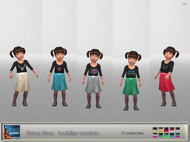 Sims 4 Dress Tina toddler version at Elfdor Sims
