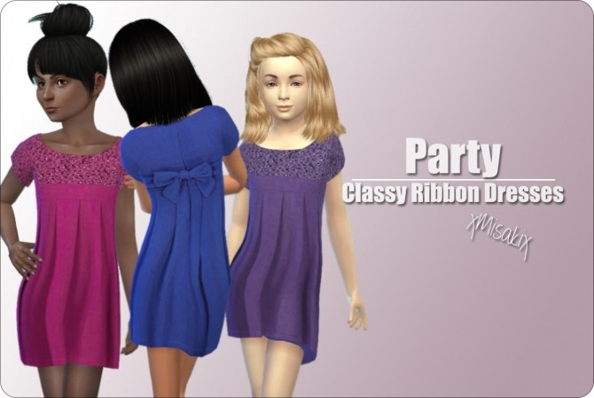 Classy Ribbon Dresses for girls at xMisakix Sims image 1062 670x449 Sims 4 Updates