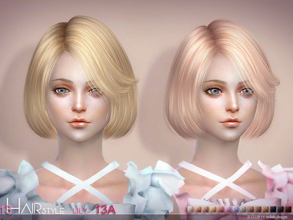 Lily Bob Haircut (style A 15 colors) n13A by S Club at TSR image 1100 Sims 4 Updates