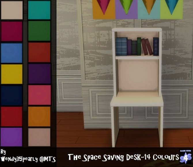 Sims 4 The Space Saving Desk Set 14 Colours by wendy35pearly at Mod The Sims