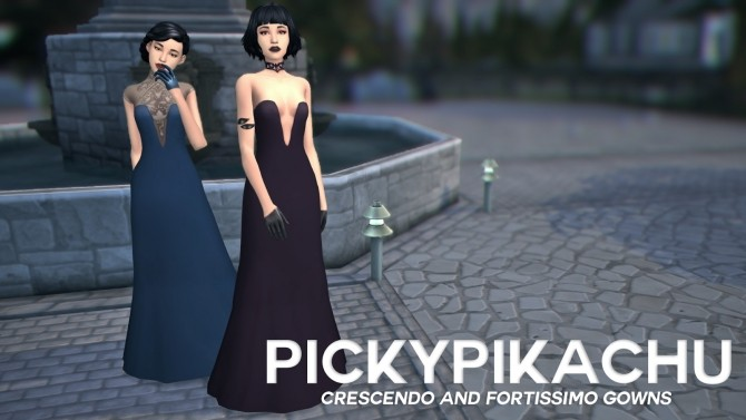 Crescendo and Fortissimo Gowns at Pickypikachu image 11514 670x377 Sims 4 Updates