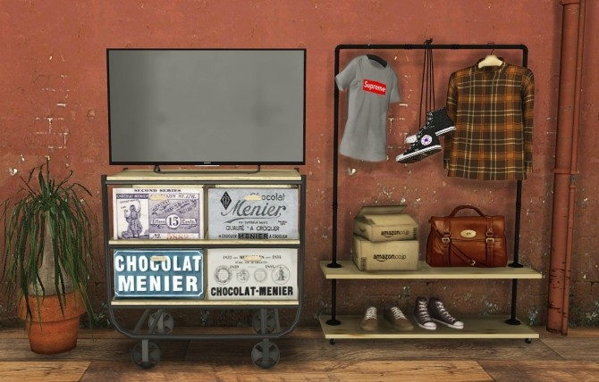 Sims 4 TV & Industrial Clothing Rack at MXIMS