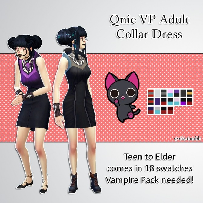 Qnie VP Collar Dress at qvoix – escaping reality image 12012 670x670 Sims 4 Updates