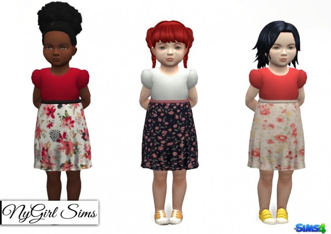 Sims 4 Floral Skirt Dress with Bow at NyGirl Sims