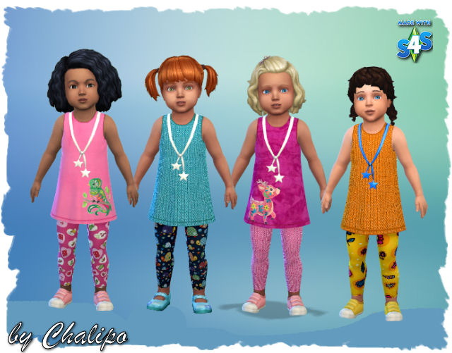 Sims 4 Toddler Tunic Outfit by Chalipo at All 4 Sims