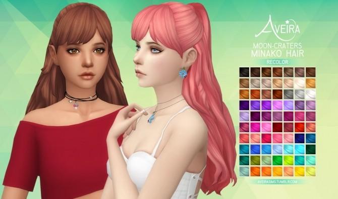 Sims 4 Moon Craters Minako Hair Recolor at Aveira Sims 4