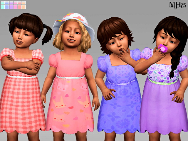 Sims 4 Cutie Toddler Dresses 12 Versions by Margeh75 at Sims Addictions