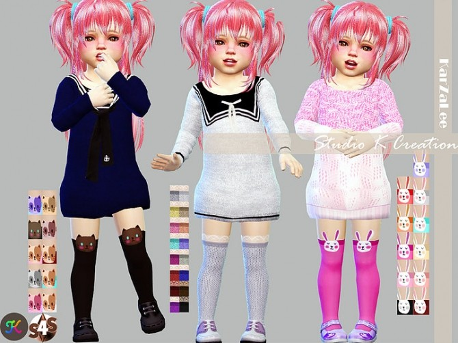 Sims 4 Lace and animals socks for kids and toddler at Studio K Creation