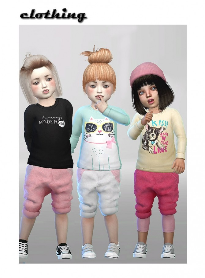 Baggy shorts + sweater shirt + leggings at ShojoAngel image 1468 670x905 Sims 4 Updates