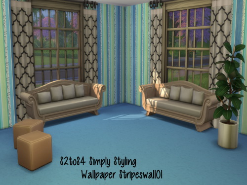 S2 to S4 Simply Styling Wallpaper Stripes & matching Floor at ChiLLis Sims image 1471 Sims 4 Updates