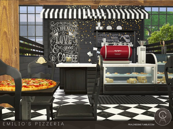 Sims 4 Emilios Pizzeria by Pralinesims at TSR