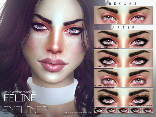 Feline Eyeliner N57 by Pralinesims at TSR image 15 Sims 4 Updates