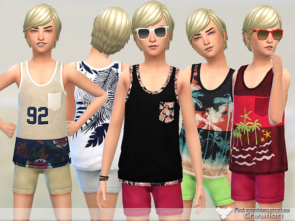Boys Tank Top Collection 02 by Pinkzombiecupcakes at TSR image 1715 Sims 4 Updates