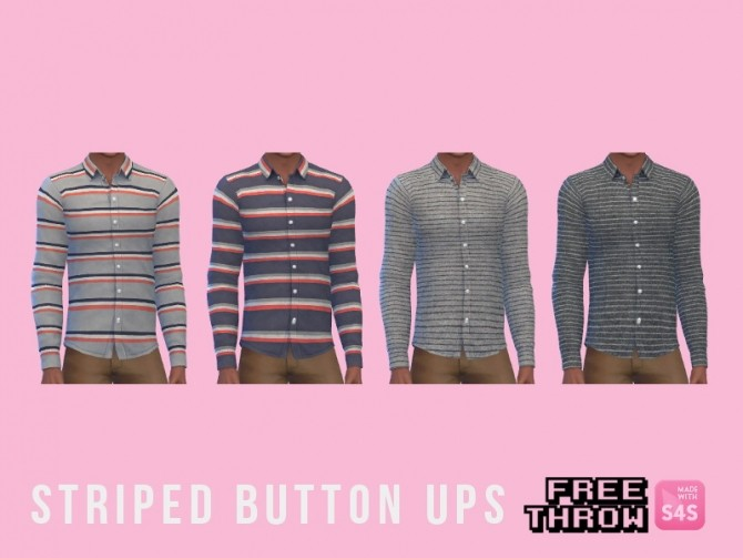 Sims 4 Stripped button up at CC freethrow