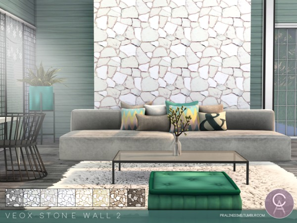 Sims 4 VEOX Stone Wall 2 by Pralinesims at TSR