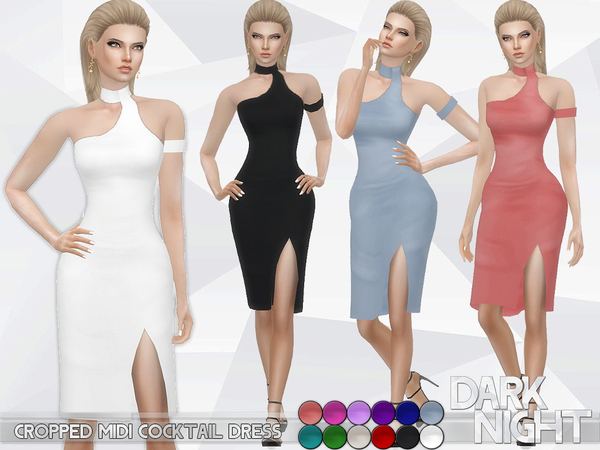 Cropped Midi Cocktail Dress by DarkNighTt at TSR image 1816 Sims 4 Updates