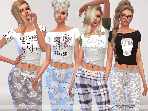 Dreaming is Free pyjama tee collection by Pinkzombiecupcakes at TSR image 1840 Sims 4 Updates