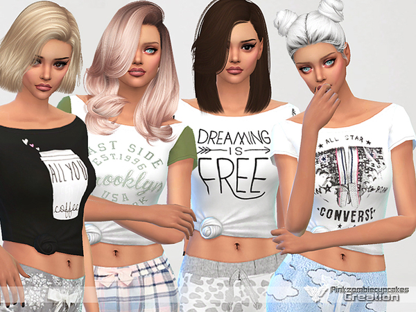 Dreaming is Free pyjama tee collection by Pinkzombiecupcakes at TSR image 1938 Sims 4 Updates