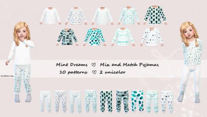 Sims 4 Mint Dreams Mix and Match Pyjama set at My Fabulous Sims